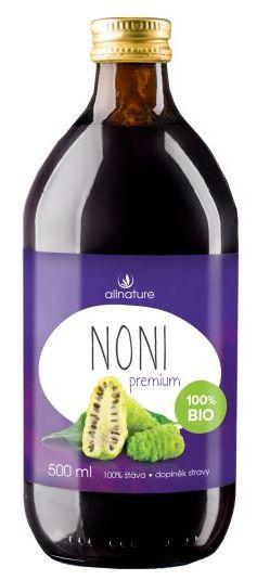 Allnature Noni Premium BIO 500 ml - BIO šťáva z plodů Noni 500 ml
