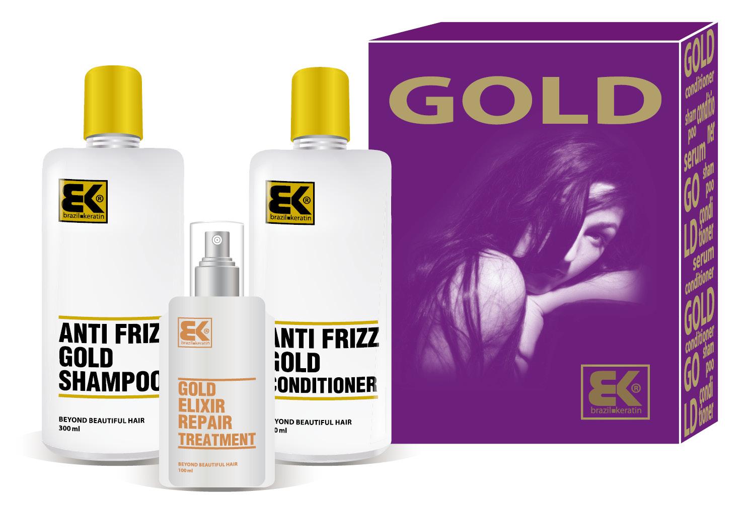 BK Brazil Keratin Gold Set 2020 - set vlasové kosmetiky pro regeneraci vlasů 700 ml
