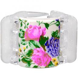 MIDI perleťově bílý s květinami